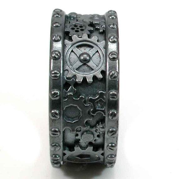 Steampunk Black Silver Gear Ring - Steam punk Wedding Ring