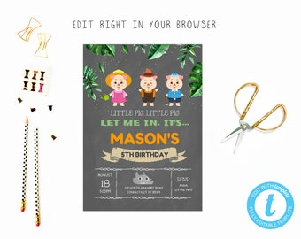 3 little pigs party tem, TRY BEFORE you BUY, instant download, edit yourself invitation,Template Editable