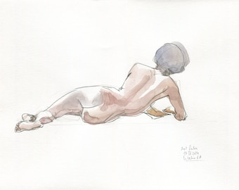 Male Nude Drawing #7 - ORIGINAL male nude watercolor drawing - naked man pencil & watercolor drawing - Afro man nude studies by Catalina.