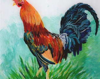 Original Rooster Painting, Reverse Acrylic Art, Year of the Rooster, Kauai Roosters, Kauai Art, Kitchen Decor, Farm Animals, Chicken Art