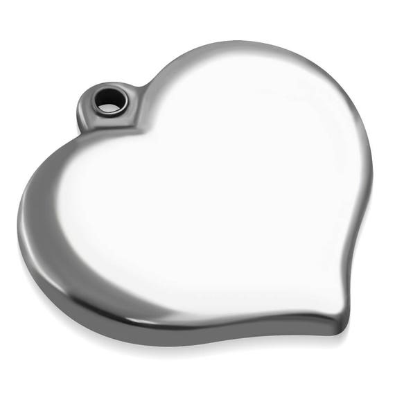 2 Blanks - 2 x 1.8cm(0.78 x.70 inch) Stainless Steel Heart Charm Engraveable - 316L SURGICAL STEEL