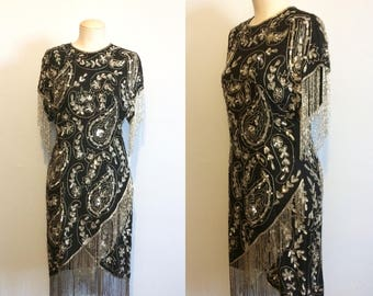 Vintage 80s Beaded Evening Dress / Black and Silver Sequin Fringe Dress / Flapper Style Party Dress / Size Medium