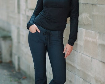 Ilona - Casual Womens Pants - Navy Blue Pants - Casual Womens Trousers - Posh Pants For Women - Navy Blue Womens Trousers - Casual Pants