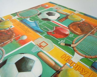 Vintage 1980 Sports Birthday Wrapping Paper Green Baseball Football Tennis Soccer Hockey Gift Wrap