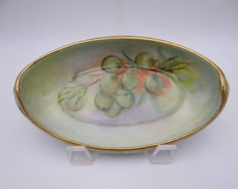 Vintage Hand Painted Artist Signed Royal Bavaria Candy or Nut or Grape Bowl