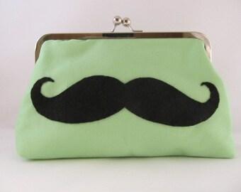 Green Mustache Clutch-Clutch-Purse-Handbag-Kisslock-8 inch