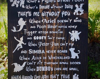 Handmade Disney Sign, Disney Decor, Disney in this House, Disney Love, Wood Sign,  Children's Room Decor, Disney Wedding, I'll Always Love
