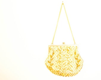Vintage beaded purse, yellow gold beaded handbag with chain, Mister Ernest mid century Hong Kong