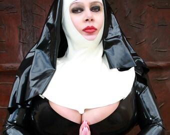 Sister Sin Hood HeaddressLatex Nun Hood Nun Headpiece Latex Costume Latex Cosplay wYwFOQZ