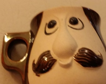 Spencer Gifts Mustache Man Face Mug Coffee Cup Pottery Made in Japan kitschy cute novelty moustache handcrafted Dad shaving cup