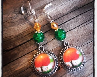 Cabochon dangle, Pearl Earrings / green and orange