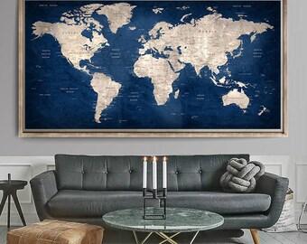 Elegant Large World Map, World Map Art Print, World Map Wall Art, World Map