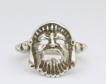 Vintage silver greek drama mask ring, theater ring, silver comedy tragedy mask, vintage jewelry, vintage sterling silver ring/statement ring