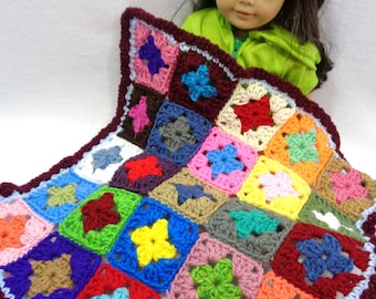 Scrap Colorful Doll Blanket, Crochet 18 Inch Doll Afghan,  Dollhouse Quilt, Crocheted Old Time Granny Square Blanket, Trivet, Easter Gift