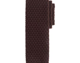 Brown Wool Knit Tie, Men's Necktie, Knitted Necktie, Casual Necktie, Chocolate Necktie, Groomsmen Necktie, Wedding Necktie