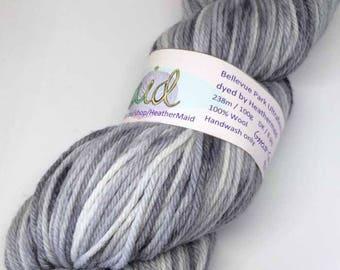 Bellevue Park Ultrafine Merino Hand-dyed 100g 8 ply Wool Yarn Ghost Gum Grey