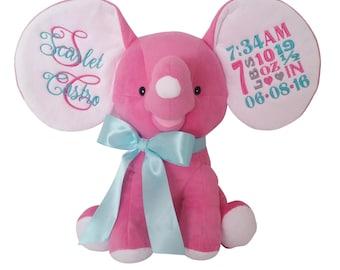Personalized Stuffed Animal, Plush Elephant, Baby Birth Announcement, Child Gift
