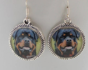 Rottweiler Dog Puppy Picture Earrings Rottie Jewelry 3D Black Dimensional Brown Silver