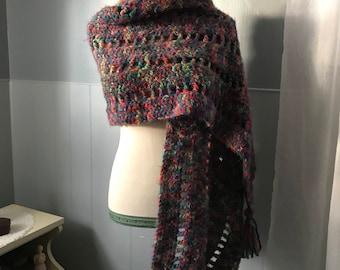 Tassle Shawl | Multicolor Shawl | Shawl | Wrap | Crochet Shawl | Crochet | Handmade | Stole | Crochet Stole