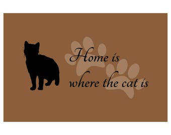Home is where the cat is/Home is where the cats are doormat - Choose from 2 sizes