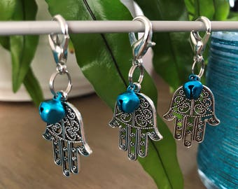 "Progress keepers ""Hand of Fatima"" ""Hamsa Hand"" Stitch markers Set of 3 Knitting Crochet Gift for Knitters Giftwrapping Embellishment"