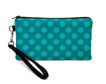 Galaxy S8 Wristlet Purse, iPhone 8 Plus Case, Smartphone Wristlet, Padded Phone Bag, Small Makeup Pouch - teal turquoise dots