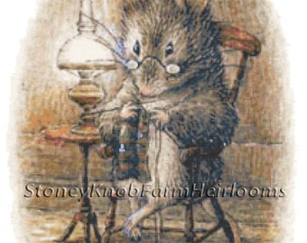 Tailor of Gloucester 3 Mouse Beatrix Potter Cross Stitch Pattern in Color and in BlkWht Symbols Download