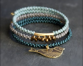 Bird Bracelet Set - Etched Brass Charm, Beaded Wrap Cuff - Dark Teal, Light Grey, Baby Blue - Boho Jewelry