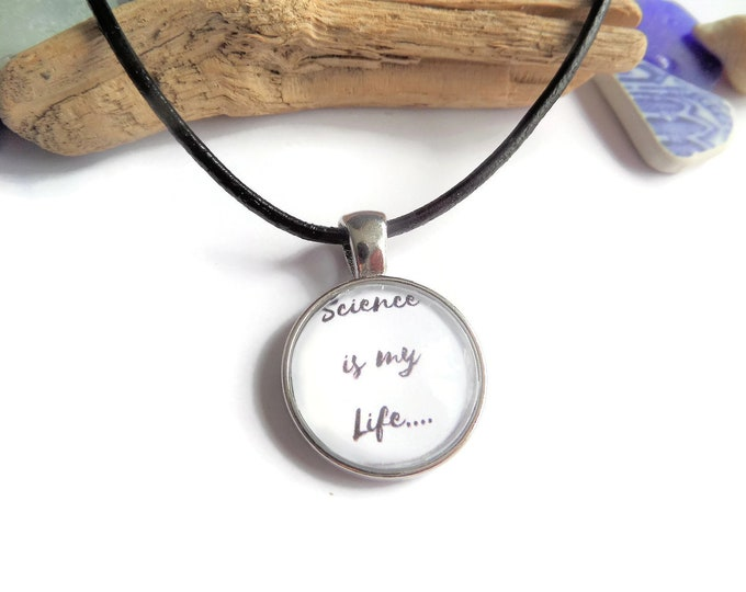 Science necklace, science gift, scientist necklace, love science, geek gift, glass dome necklace, crime fan gift, novelty gift,sandykissesuk
