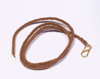 Pure Vicuna Handspun Hand Braided Kumihimo Necklace, 18k Gold Clasp