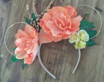 Tropical Inspired Floral and Gold Wire Mouse Ears