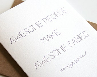 Letterpress Baby Congratulations Card - Awesome Babies