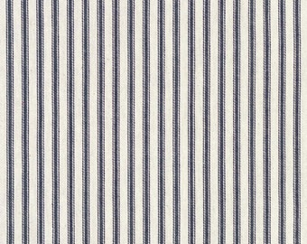 Pair (two 50W panels) blue and ivory ticking stripe curtains,
