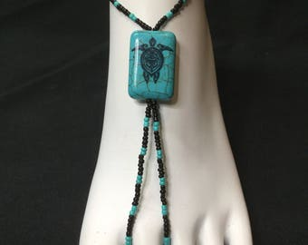 16; Turtle Hippy Feet Barefoot Sandals in black and turquoise 1 pair