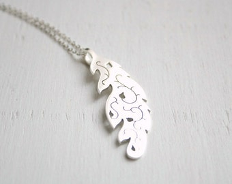 TO ORDER Feather  long necklace - sterling silver polished