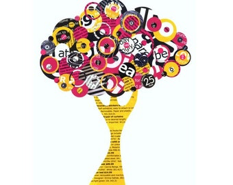 Full Circle Tree - Exuberance - Collage Reproduction 5x7 Print - Black, White Hot pink and Bright Yellow Tree