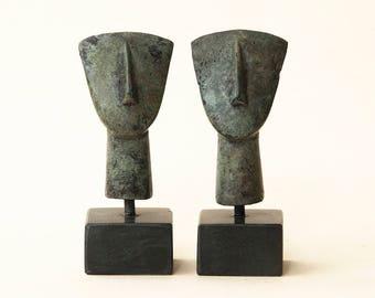 Figurine Head Greek Bronze Small Sculpture, Abstract Geometric Metal Art, Museum Replica, Minimalist Sculpture, Ancient Greece, Cycladic Art