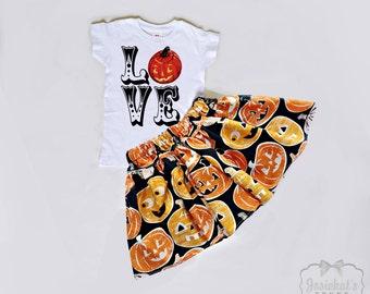 Halloween Outfit - Girl Halloween Skirt - Halloween Pumpkin Toddler -  Pumpkin Farm Love Skirt Set - 6m 12m 18m 2T 3T 4T 5 6 7 8 10 12 14 16