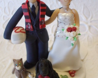 Personalized bride and groom  with pets wedding cake topper