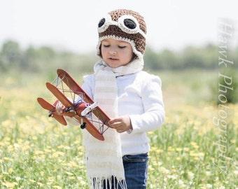 Aviator Hat Photo Prop, bomber hat, pilot hat, co-pilot hat, kids aviator costume, pilot costume, goggles hat, baby pilot