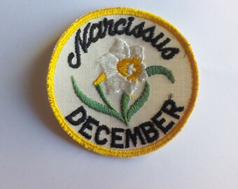 Narcissus December RARE Vintage 70's New Sewing Applique Patch