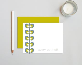 Personalized Stationery - Personalized Stationary - Personalized Notes - Personalized Note Cards - Notecard Set  / Mod Flower on Left