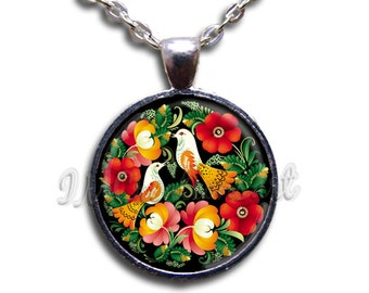Zhostovo Painting Flowers and Birds Glass Dome Pendant or with Necklace