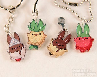 Cute Food Bunny Acrylic Charm - for cell phones, zipper pulls & key chains