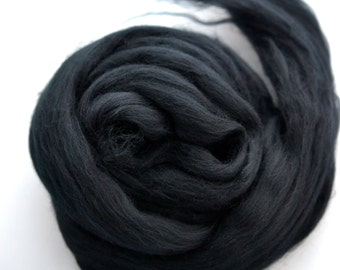 RAVEN BLACK - Merino Wool Roving 14oz, 1/2oz or  1oz