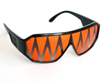 Rasslor Orange Shark Teeth Black Frame Shield Sunglasses