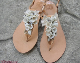 "FREE SHIPPING-Handmade silk cocoons sandals ""Nafsika""- Greek Leather Decorated Sandals -Wedding sandals-Bridal Sandals"