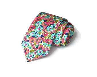 Necktie~Turquoise Coral~Floral Tie~Anniversary Gift~Wedding Tie~Mens Gift~Boys Necktie~Mens Necktie~Wedding~HoBo Ties~Mens Tie~Boys Tie~