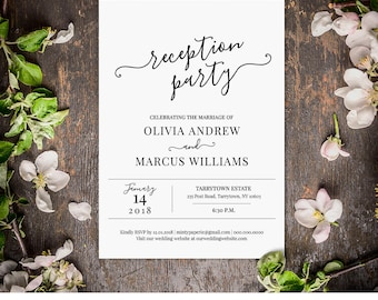 Wedding Reception Invitation, Reception Party Printable, Wedding Invite, Fully Editable Template, INSTANT DOWNLOAD, Digital, DIY #030-101WR