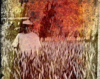 Ghost in the field, retro photography, nostalgic photography, history